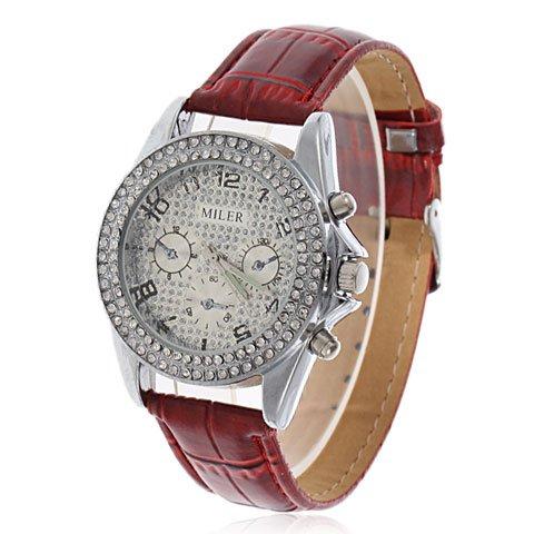 ELEOPTION Modern Uhr Luxus Damen Uhren Strass Armbanduhr Quartz Analog Armreif Uhr