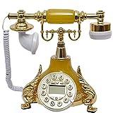 FTFTO Equipo de Vida Clásico Teléfono Antiguo Resina Metal Línea Fija Estilo Retro Teléfono Fijo Decoración del hogar Adornos Retro Línea Fija