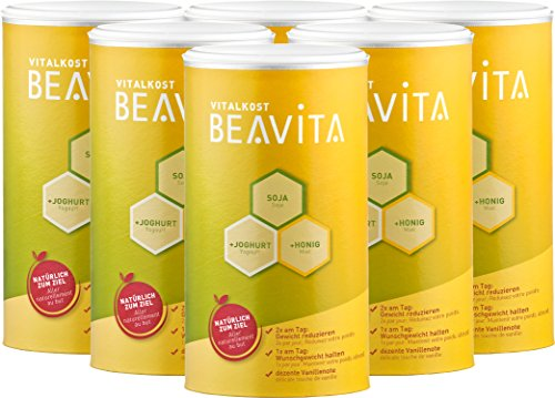 BEAVITA Vitalkost Pulver - 6x 500g Vanille Geschmack - lecker Diät-Shake für unbeschwertes Abnehmen - reicht für 4 Wochen Abnehmshake - Kalorien sparen & Gewicht reduzieren - 22 Vitamine & Mineralien