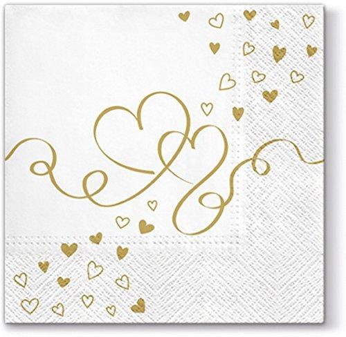 20 Servietten Goldene Herzen / Hochzeit / Liebe 33x33cm