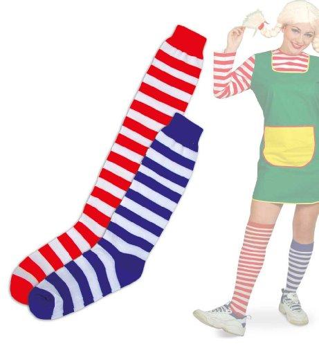 KarnevalsTeufel 1 Paar geringelte Strümpfe zweifarbig gestreift Kniestrumpf Overknee Zwei Längen und Zwei Größen (Universalgröße)
