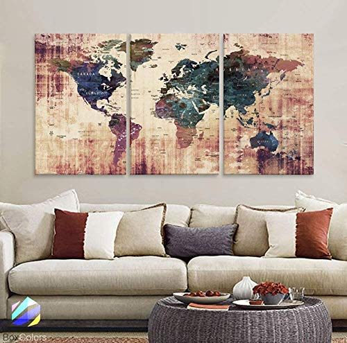 Original by BoxColors LARGE 30'x 60' 3 panels 30x20 Ea Art Canvas Print Watercolor Brown Green Old Map World Push Pin Travel Wall home office decor (framed 1.5' depth) M1819