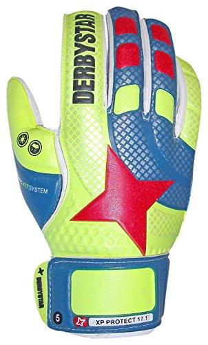 Derby Star XP Protect 1Guanti da Portiere, Unisex, XP Protect 1, Giallo/Blu/Arancione, 8