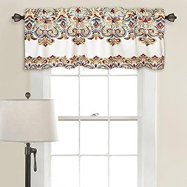 Lush Decor 16T000205 Clara Room Darkening Window Curtain Valance Set, 18 inch x 52 inch, Turquoise/Tangerine