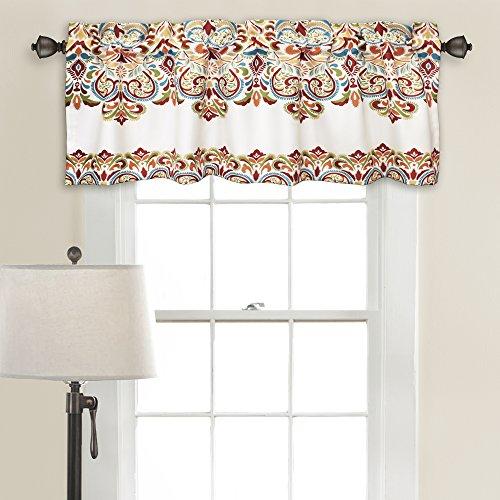 "Lush Decor Clara Valance Paisley Damask Print Bohemian Style Single Curtain, 18"" x 52"", Turquoise and Tangerine"