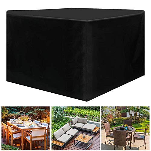 WAFWYY Funda Mesa Jardin,Waterproof, Windproof, UV Protection, Oxford Fabric Protective Cover, Used for Garden Tables and Chairs, Rectangular