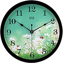 hito Silent Floral Wall Clock Non Ticking 10 inch Excellent Accurate Sweep Movement Glass Cover, Decorative for Kitchen, Living Room, Bathroom, Bedroom, Office (Ladybugs Black)