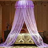 Jolitac Bed Canopy Lace Mosquito Net for Girls Beds, Unique Princess Play Tent Mesh Canopies Large Lace Dome Curtain Drapes Home & Travel (Purple)