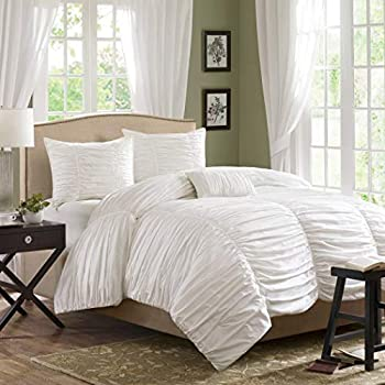 4 Piece King Cream Comforter Set Ruched Ruffles Bedding Solid Color Off White Modern Themed Stylish Classic Elegant Contemporary Boho Chic Indie Sleek Fashion