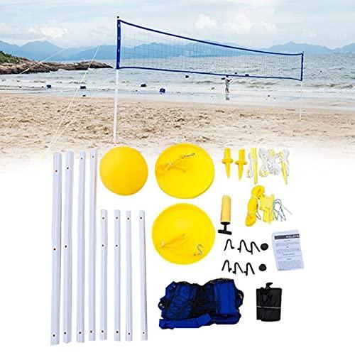 LBYDXD Conjunto de Red de Voleibol, Juego de Voleibol Deportivo, Red de Voleibol portátil Plegable Ajustable, con Soporte de Poste, para ubicaciones al Aire Libre de Peach Grass Park