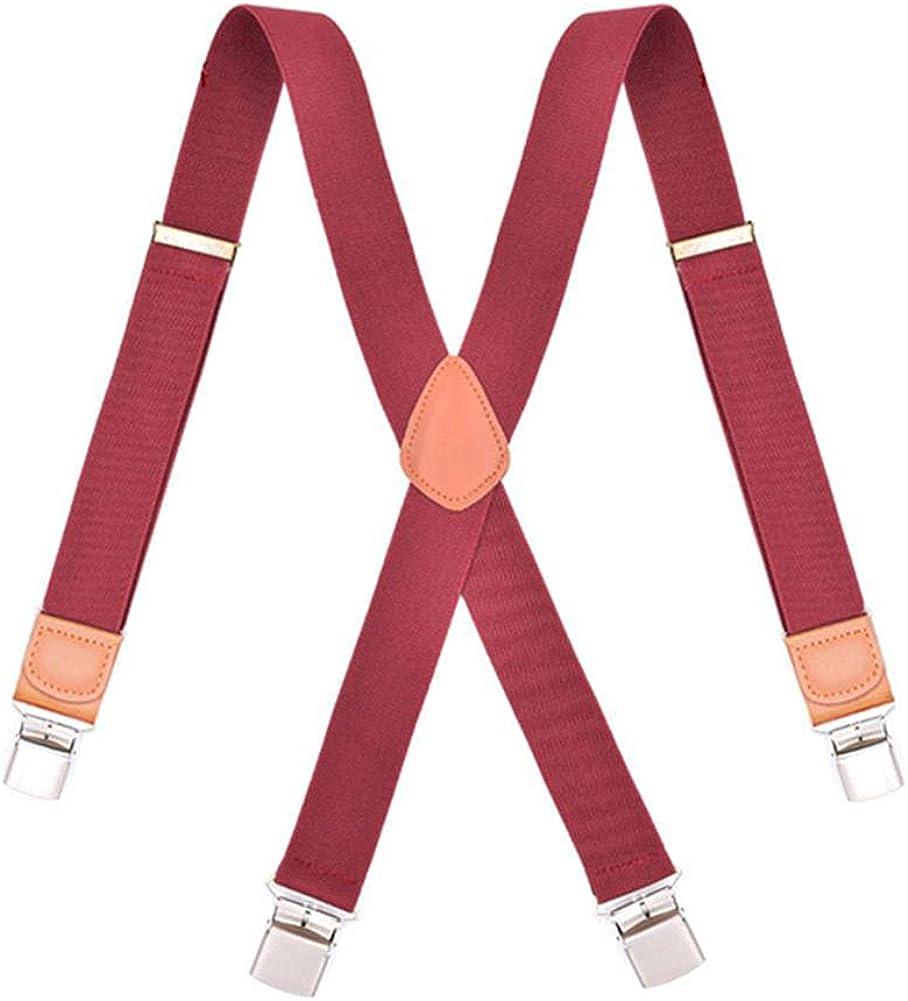 Man Braces Leather X Adjustable Belt Strap Trousers Suspensorio Father 4 Clips