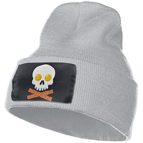 Fudeluoil Bacon Eggs Skull Crossbones Unisex Knit Fold Over Beanie Hat Skull Cap for Men and Women Gray