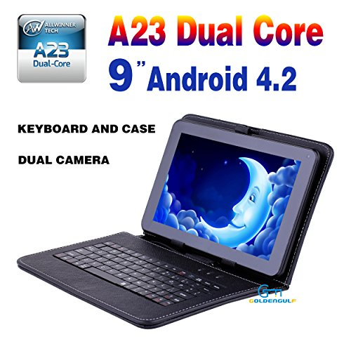 Goldengulf 9' inch Dual core Dual Camera + Leather Keyboard case Latest MID Google Android 4.2 Tablet PC Capacitive Allwinner A23 8GB Flash 11.1, Registered in Washington