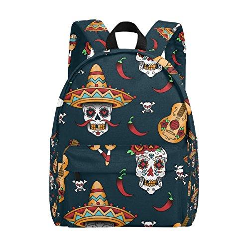 COOSUN Mochila clásica de viaje con diseño de calavera mexicana, ligera, para niñas, mujeres, niños, adolescentes