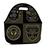 Lunch Bag with Wide Opening, Lunch Tote Bag Lunch Box special unit miltary badge...