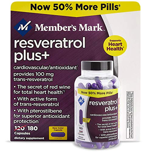 Price comparison product image Member's Mark 100mg Resveratrol Plus+ Dietary Supplement (180 ct.) NEW (1)