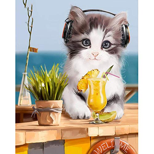 zxx5d Diamant Painting Bilder Katze 40X50Cm Daimon Painting 5D Diamant Painting Full Groß Bunt Tiere DIY Set Crystal Card Kit Stickerei Bilder Zum Kleben Mit Steinen Art(419)