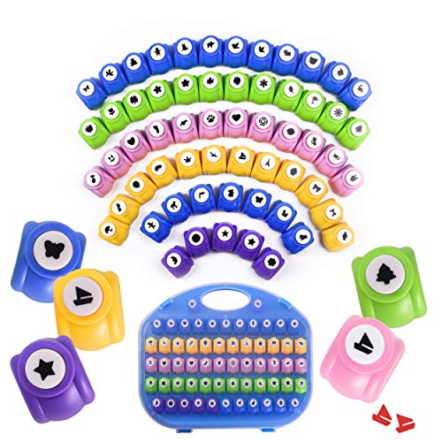 Shape Paper Punch Set | School Scrapbooking Paper Punchers for Arts and Crafts | Hole Punch Shapes That Kids and Adults Adore | Premium Crafting Supplies Kit Includes 60 Paper Puncher Shapes