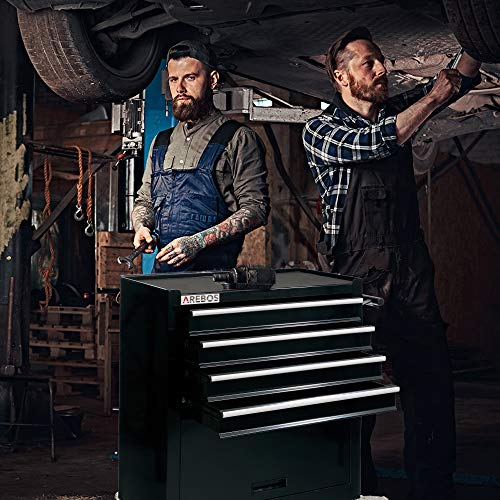 Arebos Werkstattwagen 4 Fächer + großes Fach/mit Antirutschmatten / 2 Rollen mit Festellbremse (Schwarz) - 2