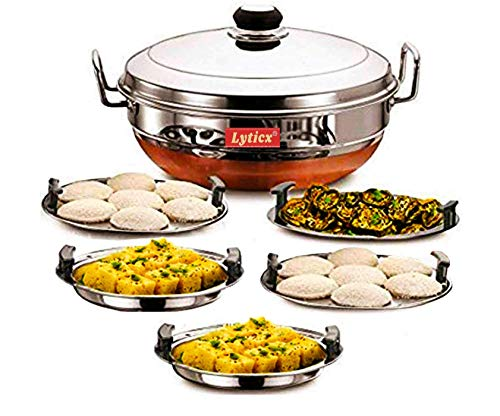 Lyticx® All-In-One Idli Cooker Multi Kadhai Steamer with Copper Bottom   Dhokla Maker   Idli Maker with Steamer   Steam Kadai for Cooking   Momos Steamer Plate   5 Plates -2 Idli, 2 Dhokla and 1 Patra