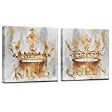 sechars Romantic Bedroom Wall Art Modern Golden Queen and King Crown Painting...