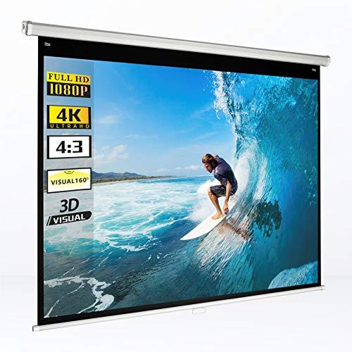 手動吊り下げ式 プロジェクタースクリーン 75インチ 4:3 画面の高さ115cm×幅154cm 屋内使用 4K UHD 視野角160° 壁掛け 天井埋め込み スクリーン 巻き上げ スクリーン ホームシアター