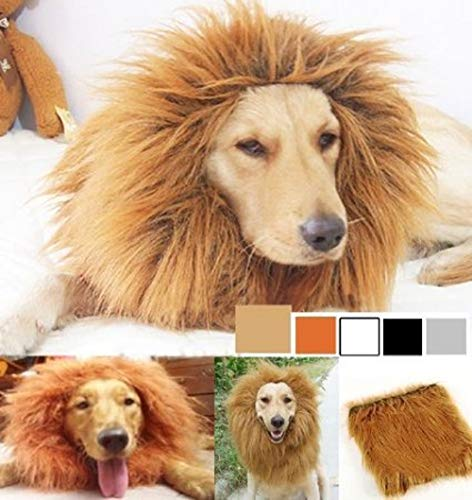 SUNREEK Large Pet Dog Cat Lion Wigs Mane Hair Festival Party Fancy Dress Clothes Costume