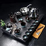 Tetera estilo japonés, Juego de té de kung fu chino con bandeja de té de piedra que fluye atomizado piedra de té de piedra de agua de ebullición automática servicio de té de porcelana-c ( Color : A )