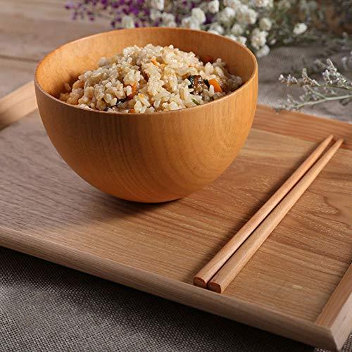 Cuenco de madera, platos redondos del envase de la comida del cookware...