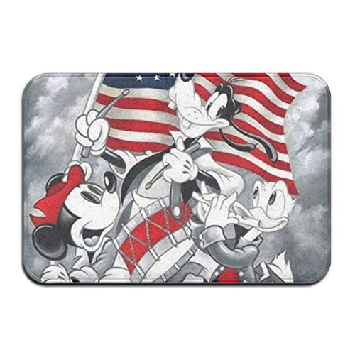 N\A Felpudo de Interior/Exterior Mickey Mouse Feliz 4 de Julio día Antideslizante felpudos Traseros de Goma alfombras de Regalo para la Entrada