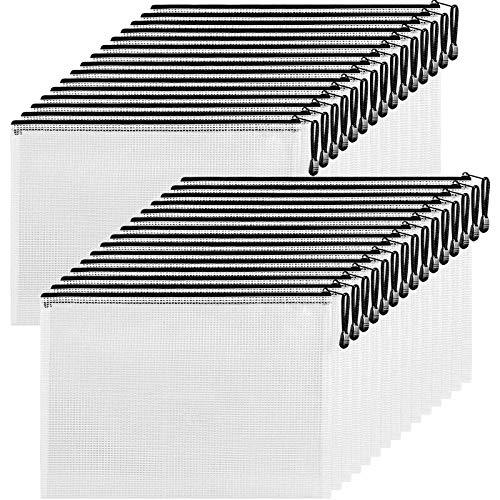 Mesh Zipper Pouch Document Bag 30 Pack, Letter Size/A4 Size Waterproof Document Pouch Zip File Folders, Large Zipper Pouch Receipts Organizer for School Office Supplies,Paperwork Storage(Black)