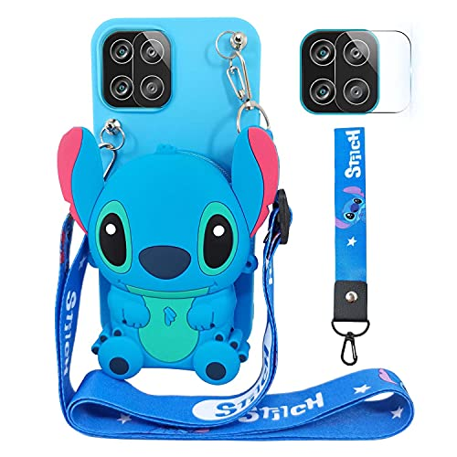 DiDicose Case Compatible with Samsung Galaxy A12 Cute 3D Cartoon Purse Wallet with Lanyard Wrist Strap Soft Silicone Cover Camera Lens Protector for Samsung Galaxy A12 Alien Dog Blue