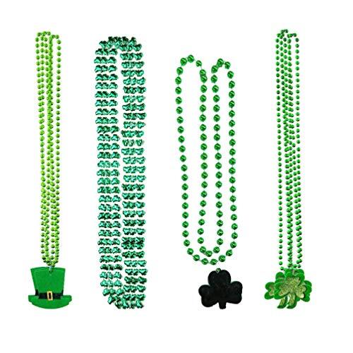 Holibanna 10Pcs St Patrick Beads Collar de Cuentas Trébol Colgante Abalorios Cadena Gargantilla St. Sombrero de Patricio Collares de Disfraces Accesorio de Cosplay de Fiesta Suministros de