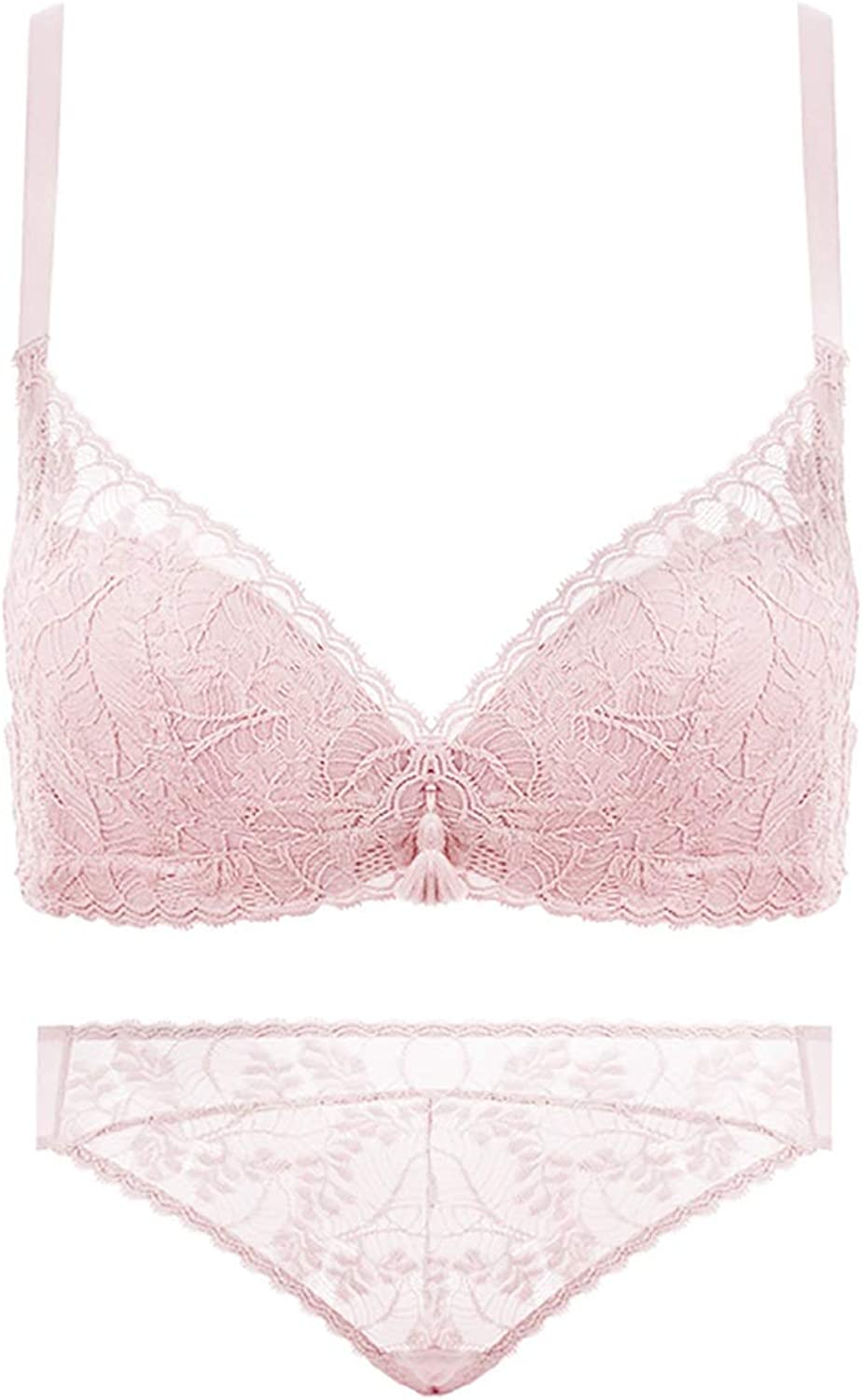 Sexy Bra Sets for Women deep V Gather lace Pattern Tassel, no Steel Ring, Erect Cotton, Adjust The Chest Shape, Four Rows of Three Buckles Cloth (Size   Pink)