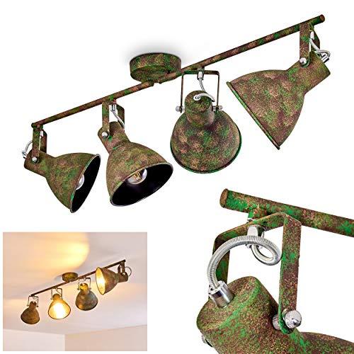 Deckenleuchte Lisele, verstellbare Deckenlampe aus Metall in Rost/Grün, 4-flammig, Lampenschirme dreh- u. schwenkbar, 4 x E27-Fassung, max. 60 Watt, Spot im Retro-Design, LED Leuchtmittel geeignet