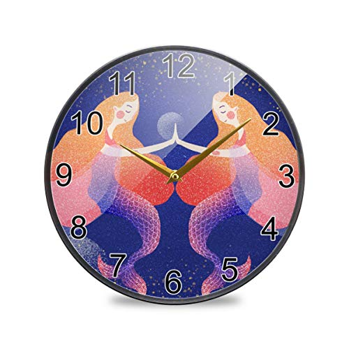 Mr.Lucien Reloj Constelación Piscis Reloj de Pared Acuarela Patrón Creativo Acrílico Reloj...