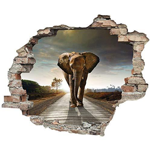 3D-Effekt Wandtattoo 'Elefant'   Aufkleber   Durchbruch   selbstklebendes Wandbild   Wandsticker   Stein   Wanddurchbruch   Wandaufkleber   Tattoo, Größe:60x50 cm