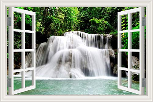 3D Window Waterfall River Laker Forest Natural Scenery Wall Sticker Home Decoration Living Room Bedroom Landscape Photo Art Decal Wallpaper Mural Poster