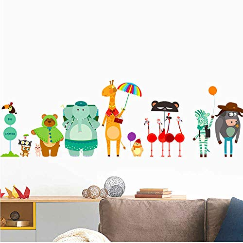 HlNaughty Cartoon Zoo Bus Station Muurstickers voor Kids Baby Kinderkamers Decoratie muurschildering Art Decals Kwekerij Dieren Stickers