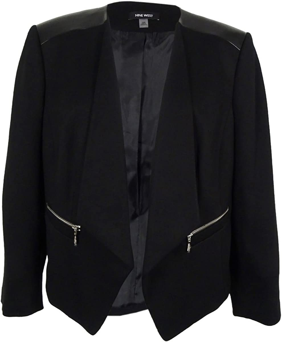 NINE WEST Women's Ponte Roma Front Jacket Kiss Ultra-Cheap Deals 2 Pocket Max 57% OFF