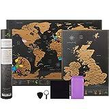 Mapa del mundo para rascar, de la marca Atlas&Green, con mapa de Reino Unido, kit de accesorios y tubo