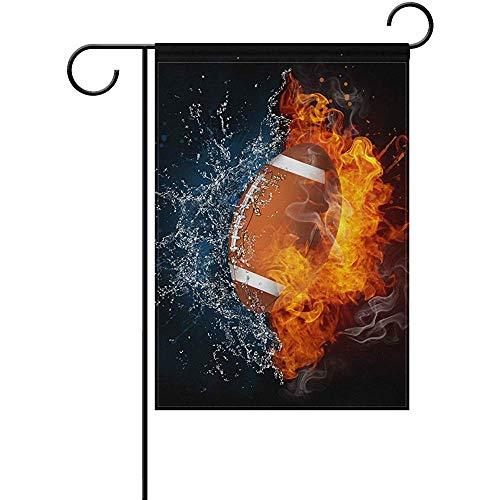 EW-OL American Football Feuer und Wasser Große Gartenfahne Vertikal Polyester Beidseitig Bedruckt12,5X18Zoll
