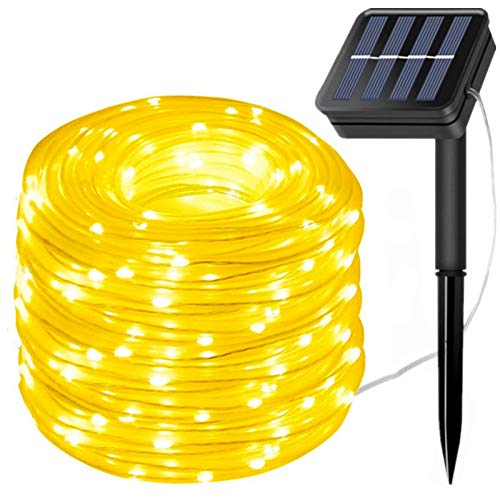 LiyuanQ Solar String Lights Outdoor Rope Light,300 LED Waterproof Tube Lights Copper Wire Automatic Switch Fairy Indoor Decoration Light Christmas Tree Ornaments Gifts Party Thanksgiving (Warm White)