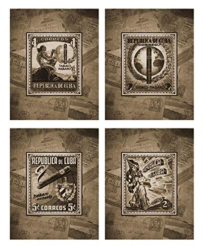 Cuban Cigar Theme Mens Wall Decor Print Set in Espresso Brown Four 8x10 Vintage Wall Art Cigar lounge, barber shop, bachelor pad, office, bar, tavern, smoking room. Designed exclusively for Wallables.