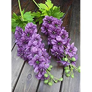Artificial and Dried Flower 20PCS/lot Single Vessel Large Delphinium Hyacinth Hydrangea Bride Holding Flower Wedding Bouquet Artificial Flowers – ( Color: Purple )