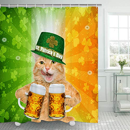 Alishomtll Happy St.Patrick's Day Shower Curtain with 12 Hooks, Cat with Green Hat Shower Curtain, Durable Waterproof Shower Curtain for Bathroom Celebrating St. Patty's Day