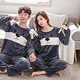 LJLLINGA Otoño Invierno Coral Terciopelo Conjunto de Pijamas de Pareja Mickey de Talla Grande Ropa de casa Traje Informal Pijamas Mujer Ropa de Dormir