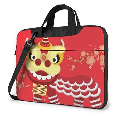 Bolsa de Mensajero de Hombro para computadora portátil de Feliz año Nuevo de Danza del león Chino, Estuche de Transporte de Manga para portátil de 15.6 Pulgadas con
