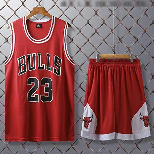 Männer Erwachsene Michael Jordan # 23 Chicago Bulls Basketball-Trikot Retro Basketball Jerseys Sommer Anzüge Kits Top + Short 1 Set,Rot,L