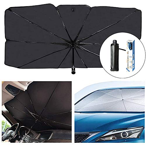 Sedan SUV Car Sun Shade for Windshield UV Rays and Heat Sun Visor Protector,Foldable Windshield Sun Shade Umbrella,Keep Car Cool,Easy to Use/Store,57''x 31''